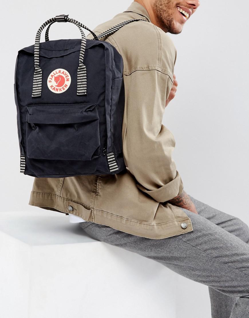880dbe22f3 Fjallraven Kanken Backpack In Black With Striped Straps 16l in Black ...