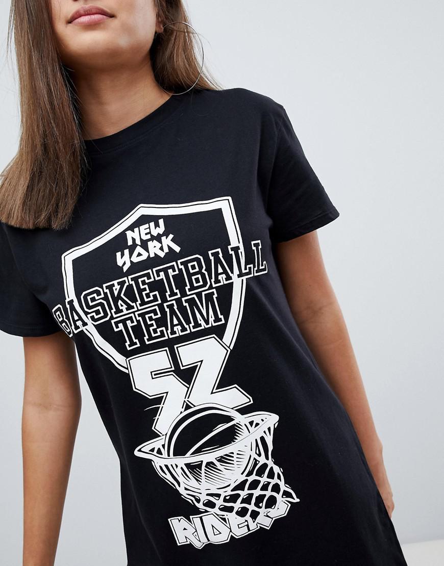 a22f80b1a5b0 Missguided Basketball Slogan T-shirt Dress in Black - Lyst