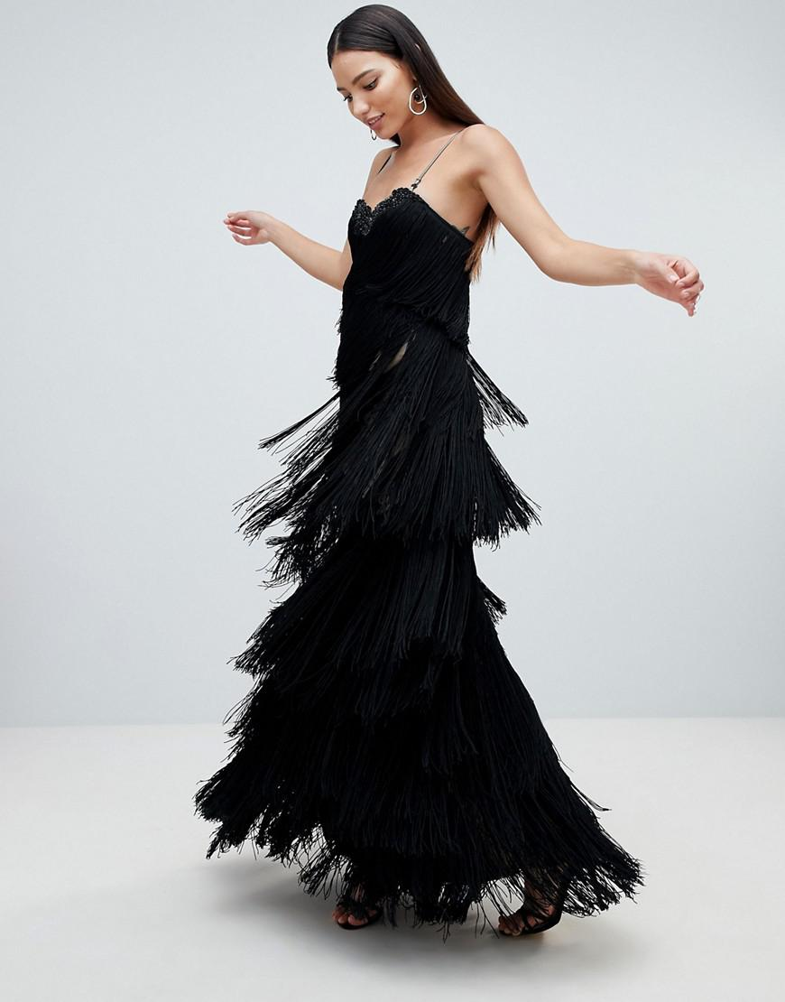 Cami Fringed Midaxi Dress - Black Forever Unique 9re3xc