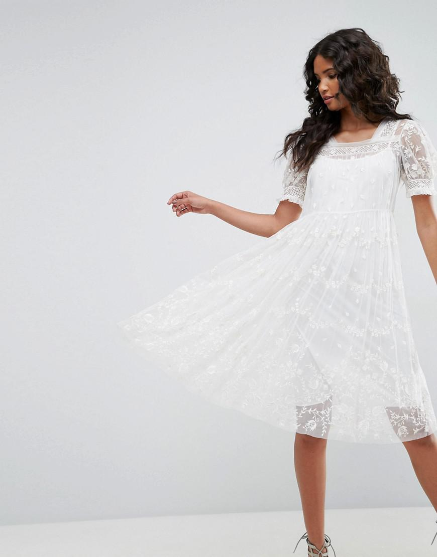 b0cb95799dbd Needle   Thread Tulle Embroidery Dress in White - Lyst