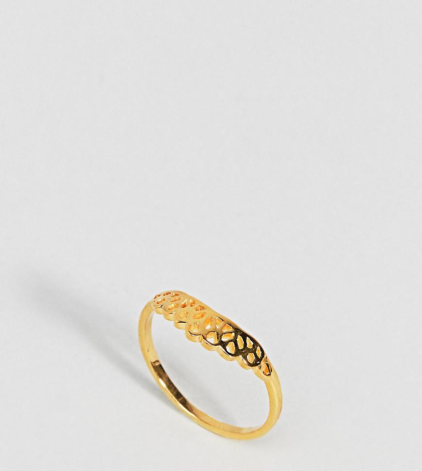 DESIGN Sterling Silver Lion Head Ring With Burnished Gold Plating - Gold Asos qlGXCpkjn