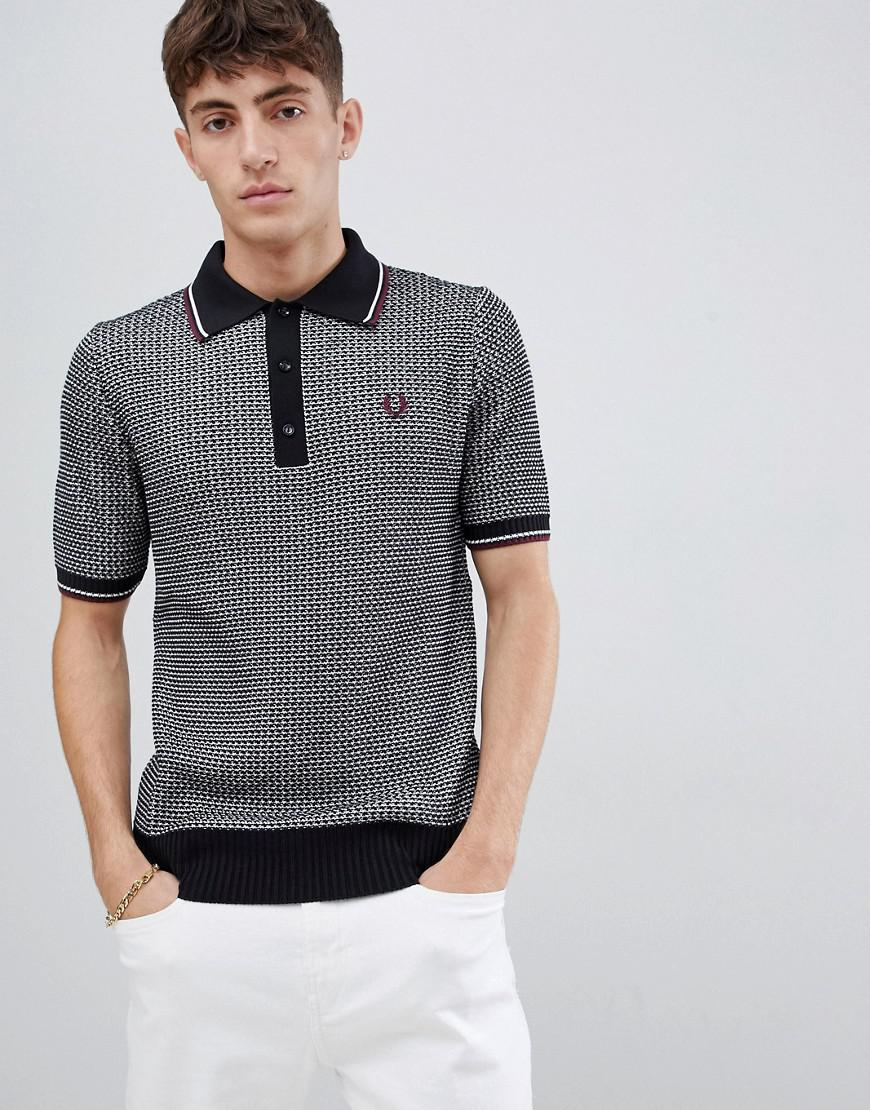 1d238e78 Fred Perry Reissues Woven Textured Knitted Polo In Black/white in ...