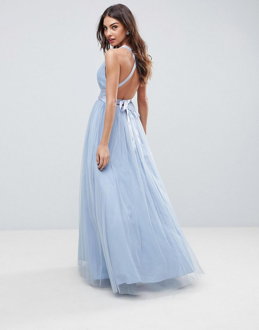 8890606d6f5 ASOS Premium Tulle Maxi Prom Dress With Ribbon Ties in Blue - Lyst