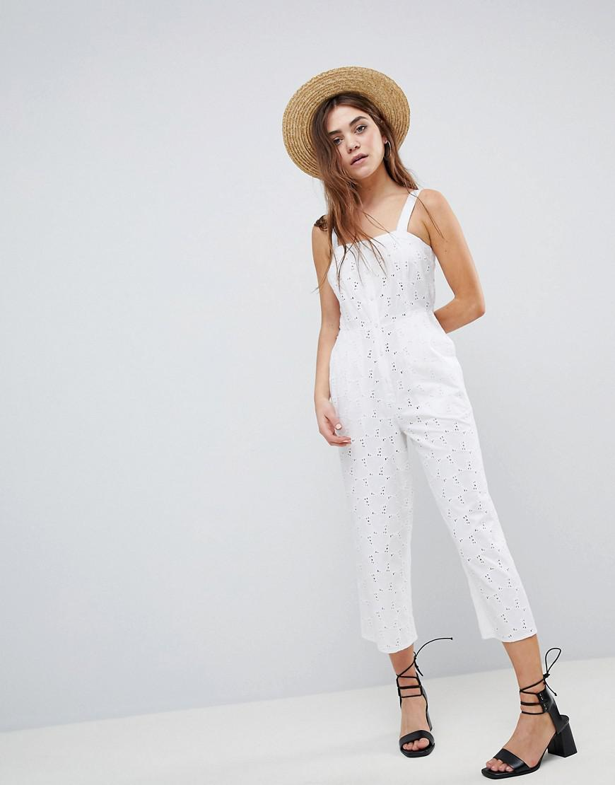 6ee17a9d5c2 ASOS Jumpsuit In Broderie in White - Lyst