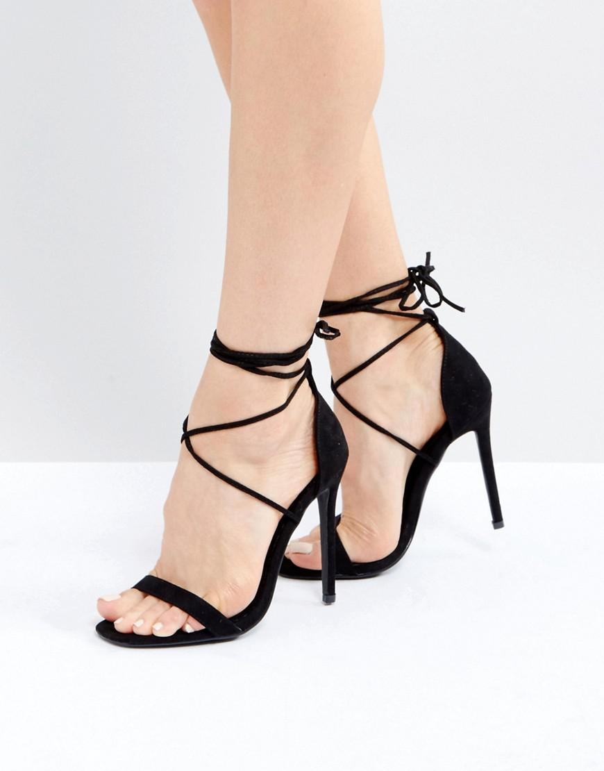 0635231ca1a9 Lyst - Missguided Lace Up Barely There Heeled Sandals in Black