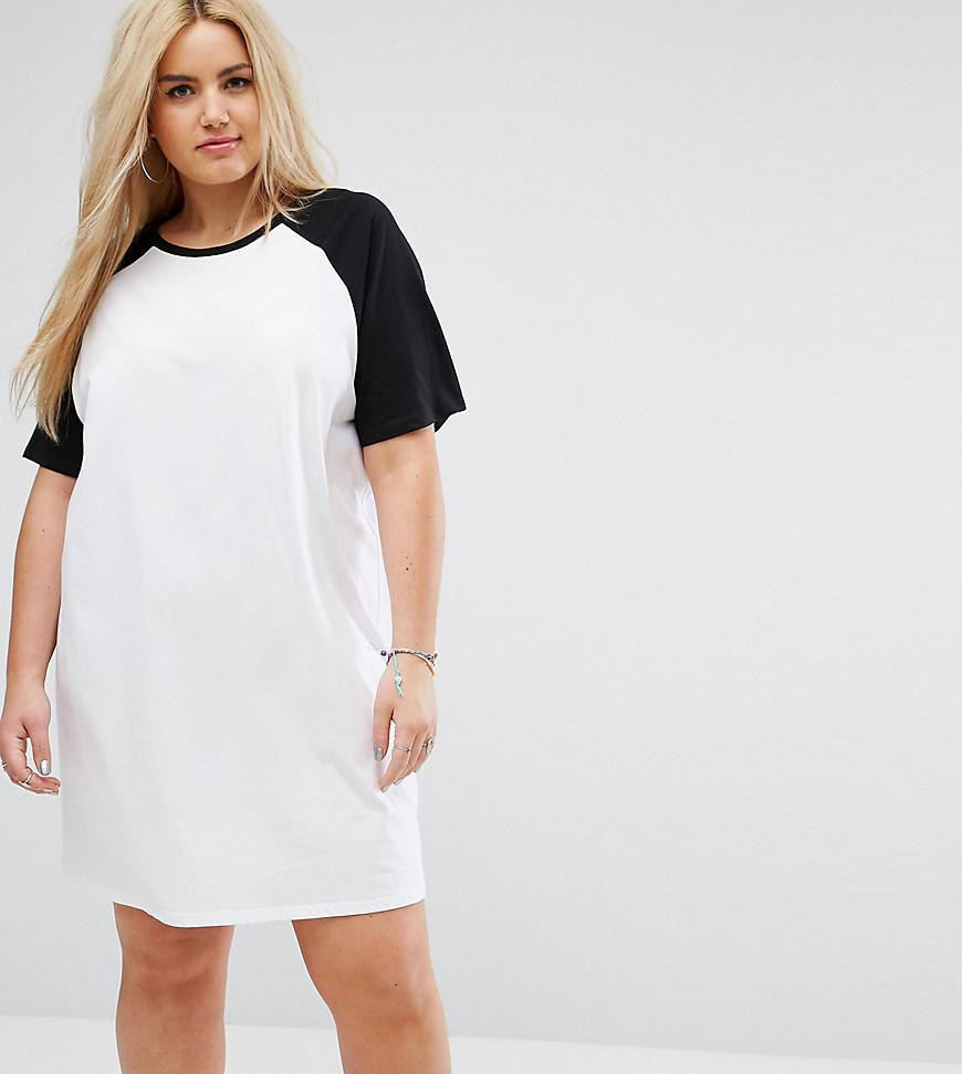 afb8eafaf8 Lyst - ASOS T-shirt Dress With Contrast Raglan Sleeves in White
