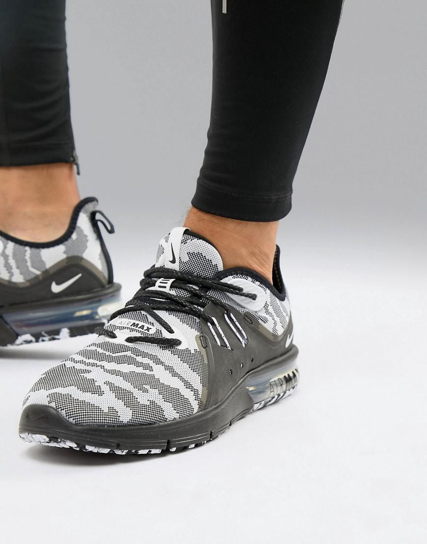 official photos 57b94 5dfcf Nike Air Max Sequent 3 Trainers In Black Camo Ar0251-001 in Black ...