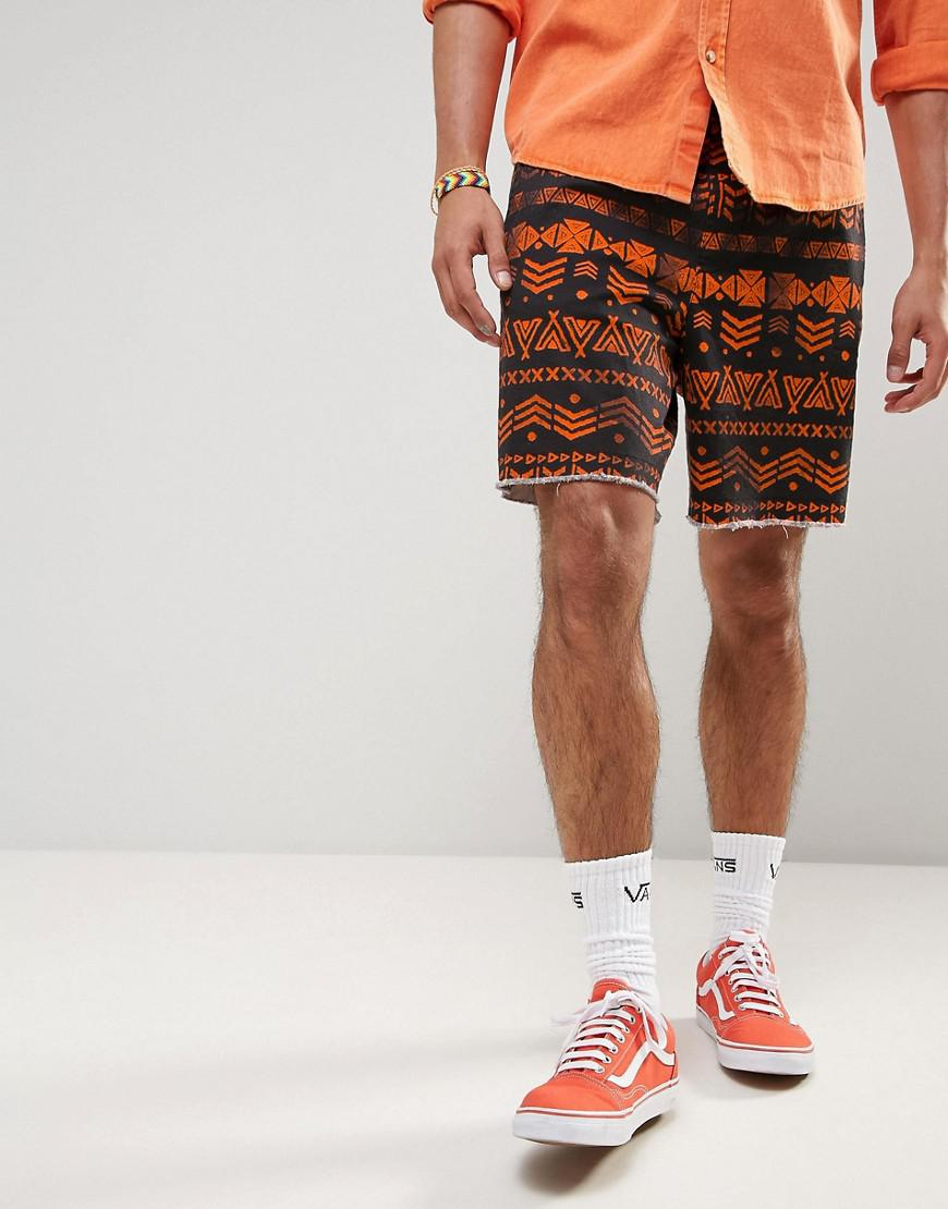 ASOS. Men's Black Festival Slim Elasticated Waist Shorts With Aztec Print