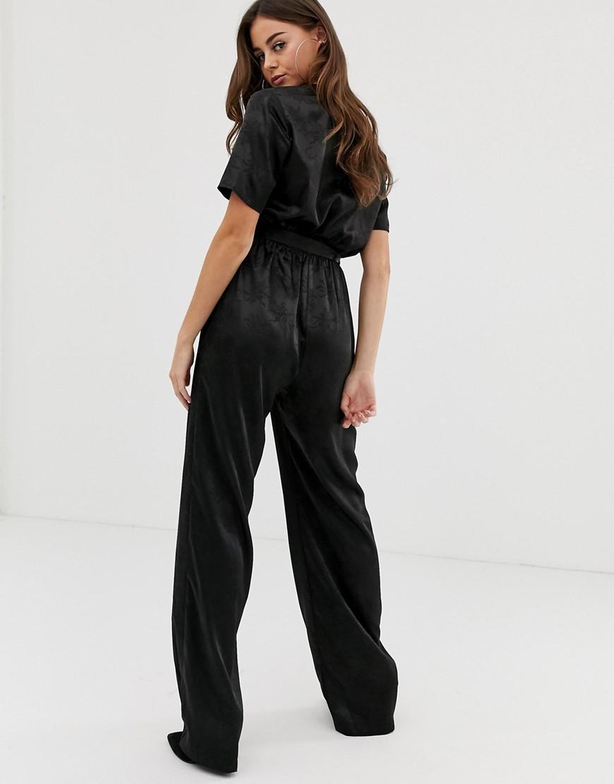 f08ee6b3c1 Lyst - PrettyLittleThing Satin Jumpsuit In Black Jaquard in Black