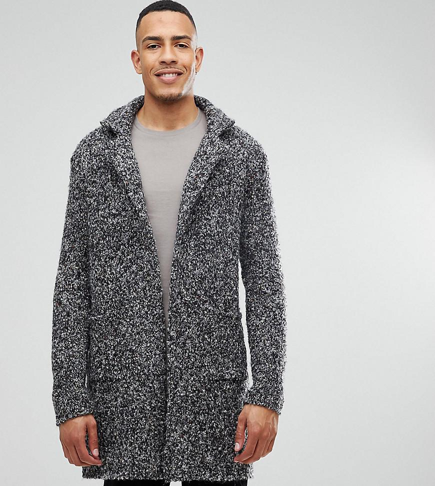 Asos Tall Longline Heavyweight Knitted Duster Cardigan In Charcoal ...