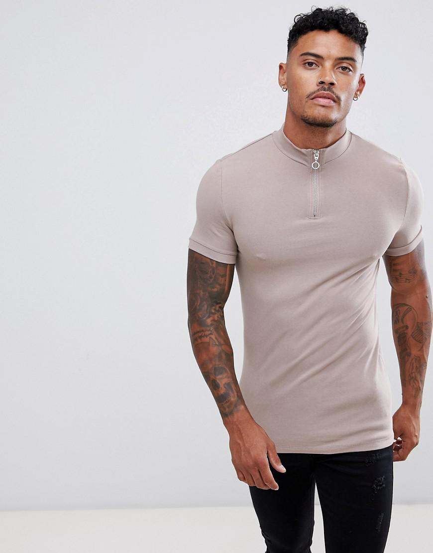 eb72aee9 ASOS Muscle Fit T-shirt With Zip Turtle Neck In Beige in Natural for ...
