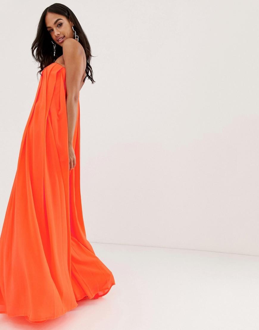 8169b1153cea ASOS Bandeau Pleated Column Maxi Dress in Pink - Lyst