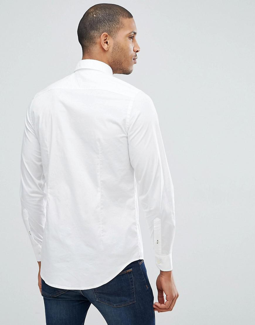 44dce832aba Lyst - Tommy Hilfiger Oxford Shirt With Stretch In Slim Fit In White in  White for Men