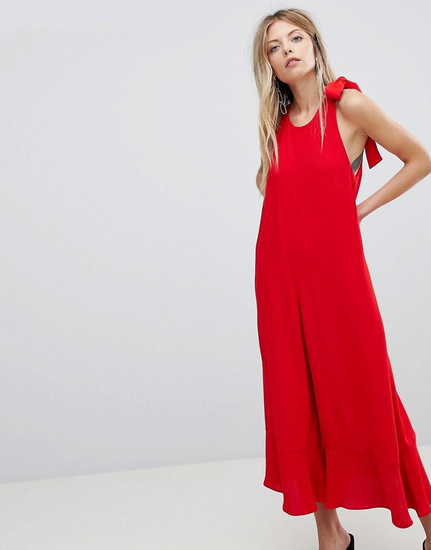3bbbeeb25892 French Connection Crepe Wide Leg Bow Jumpsuit in Red - Lyst
