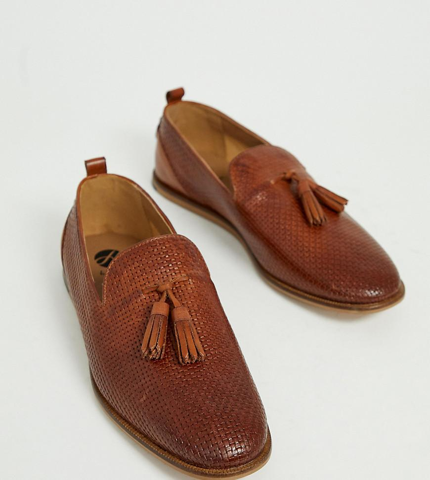 2a4e47e66b7 H by Hudson - Brown Wide Fit Comber Embossed Woven Tassel Loafers In Tan  for Men. View fullscreen