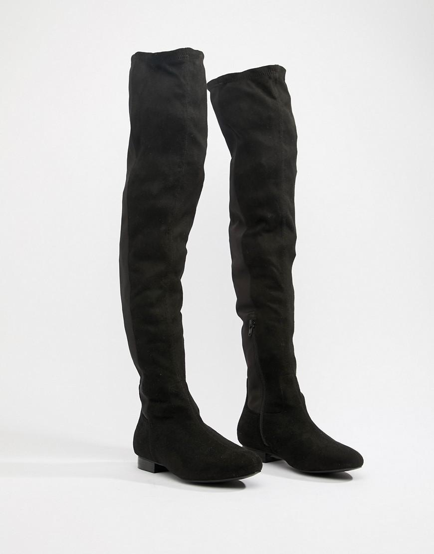 79313ee7656 Lyst - ASOS Wide Fit Extra Wide Leg Kelby Flat Elastic Thigh High Boots in  Black