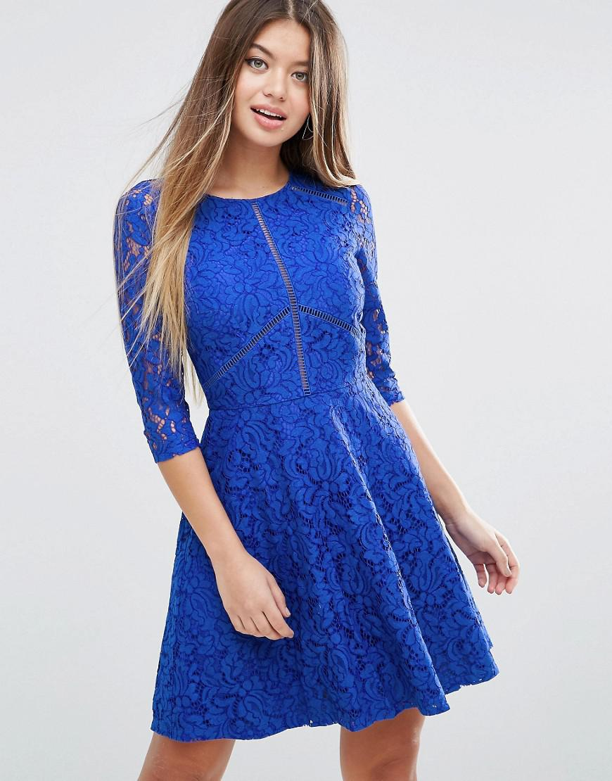 f1143cdef575 Lyst - Asos Skater Dress In Lace With Ladder Trim in Blue