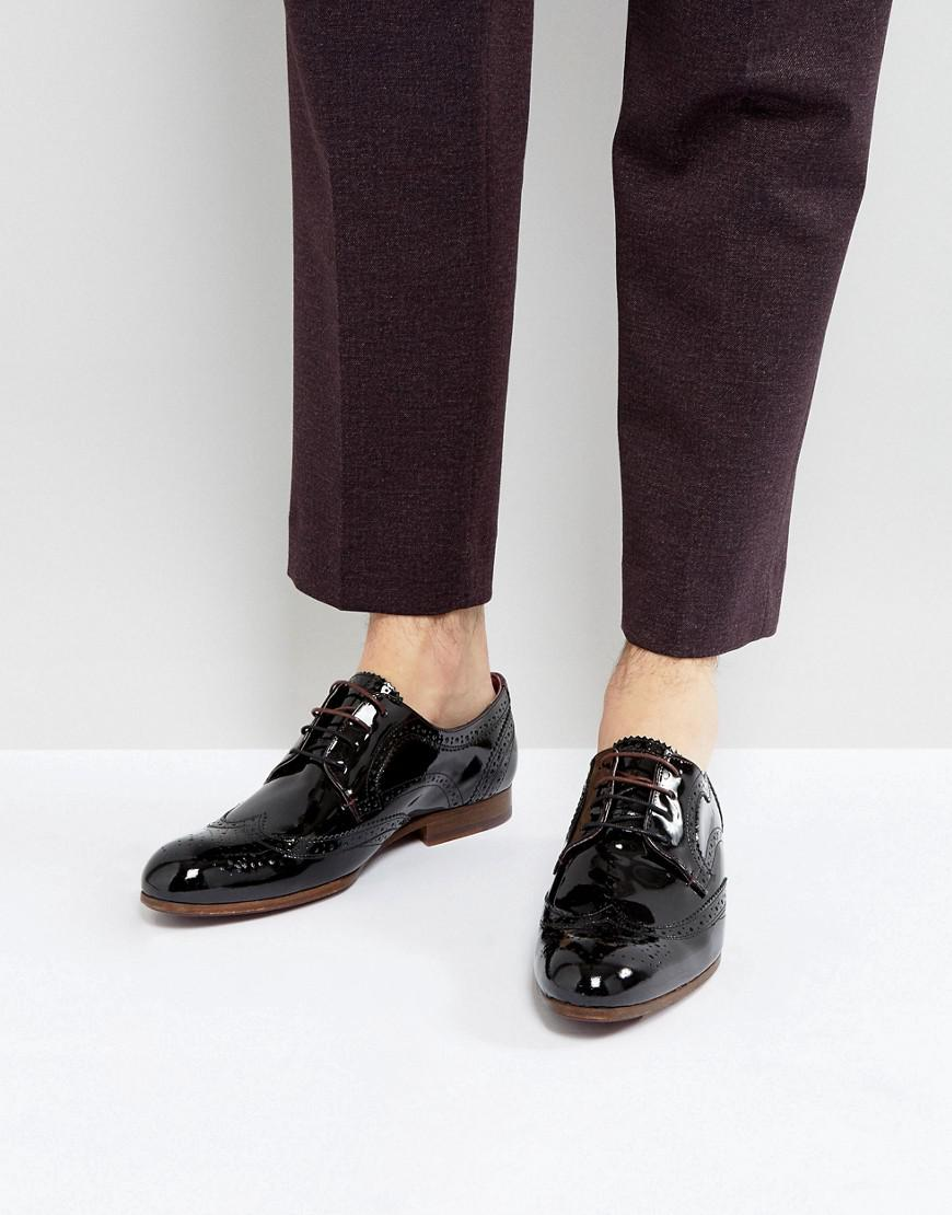 6b02244fd Lyst - Ted Baker Granet Patent Brogue Shoes In Black in Black for Men