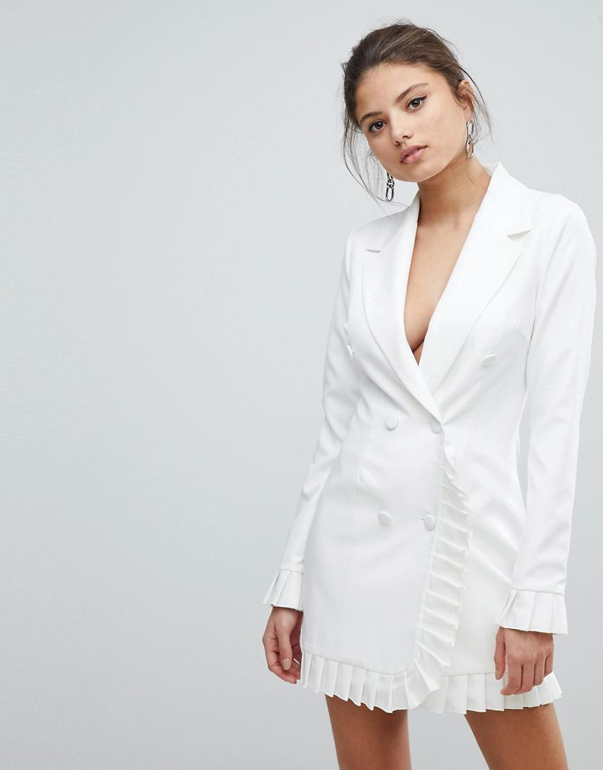 57fe65bf26b Lyst - Missguided Pleat Trim Blazer Dress in White