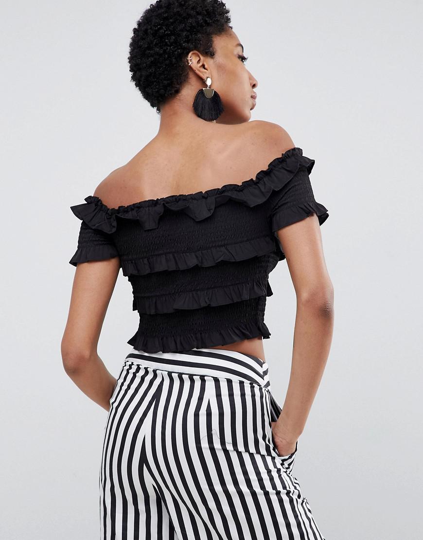 3b0ded112d6 Lyst - Vero Moda Tall Ruffle Bardot Crop Top in Black