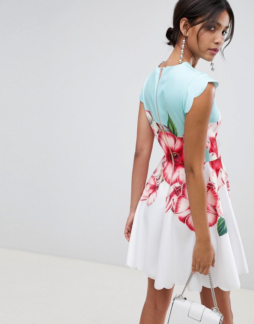 daab1243d6 Lyst - Ted Baker Scalloped Skater Dress In Nectar Print in Green