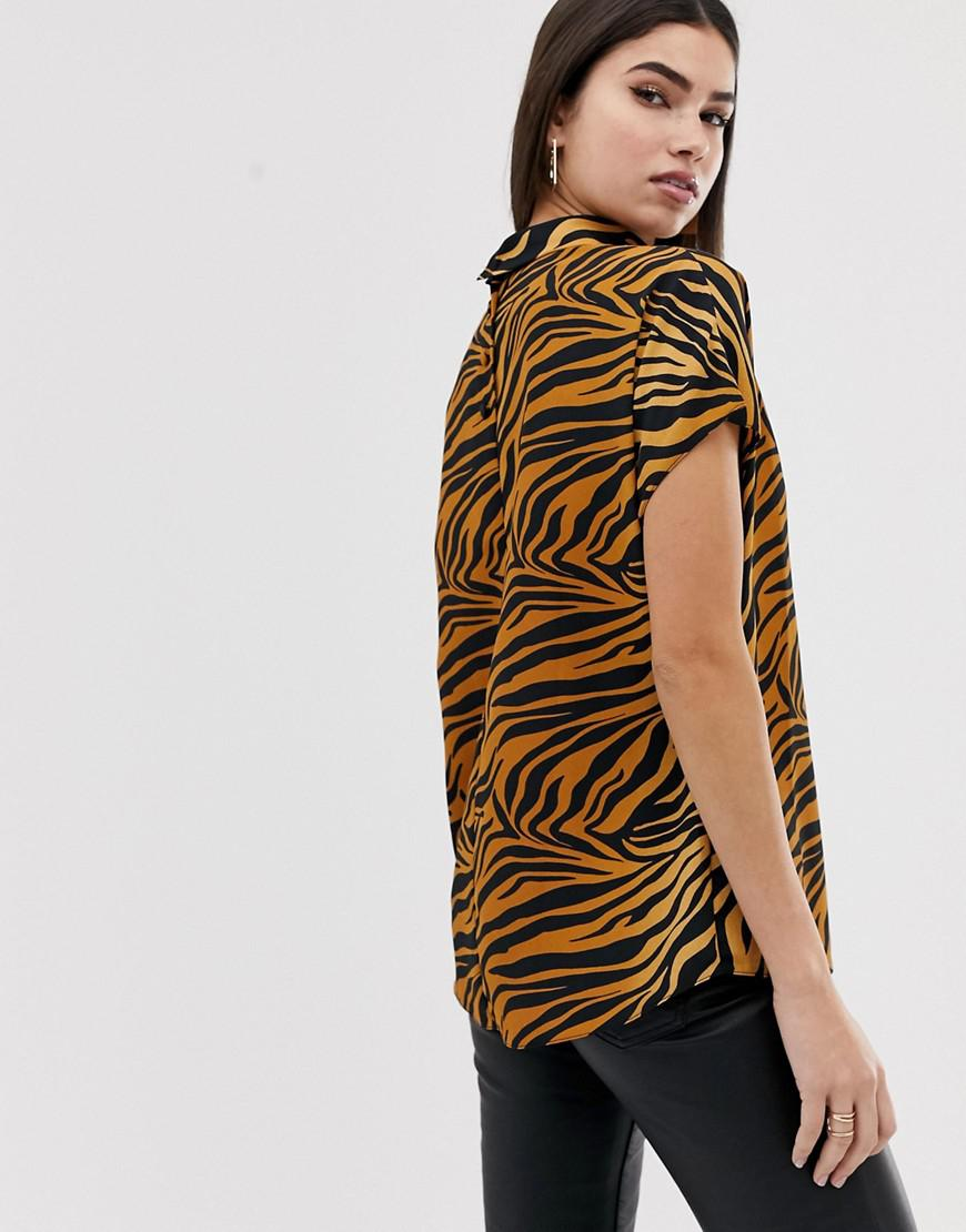 a926ad5a73b ASOS Short Sleeve High Neck Top In Tiger Animal Print - Lyst