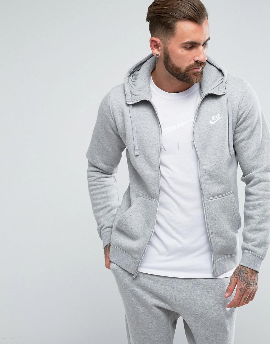 Nike. Men's Gray Zip Up Hoodie With Futura Logo In Grey ...