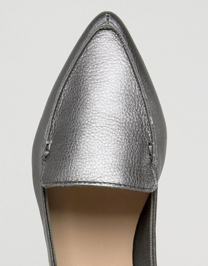 Aldo Bazovica Pewter Leather Point Flat Shoes in Metallic - Lyst cd67d734dcc