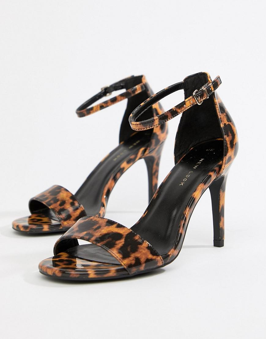 897b189478a New Look Heeled Sandals With Square Toe In Leopard Print - Lyst