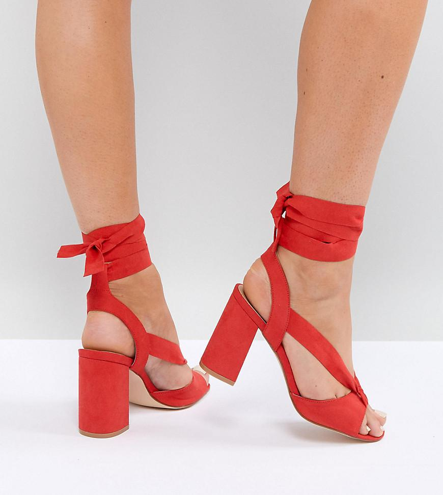 23dc335d8bbf7 Truffle Collection Wide Fit Tie Up Block Heel Sandal in Red - Lyst