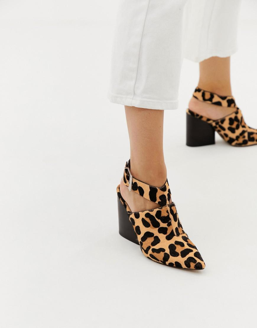7f1e35e0e1d5 Lyst - ASOS Tiger Leopard Print Leather Pointed Heeled Shoes