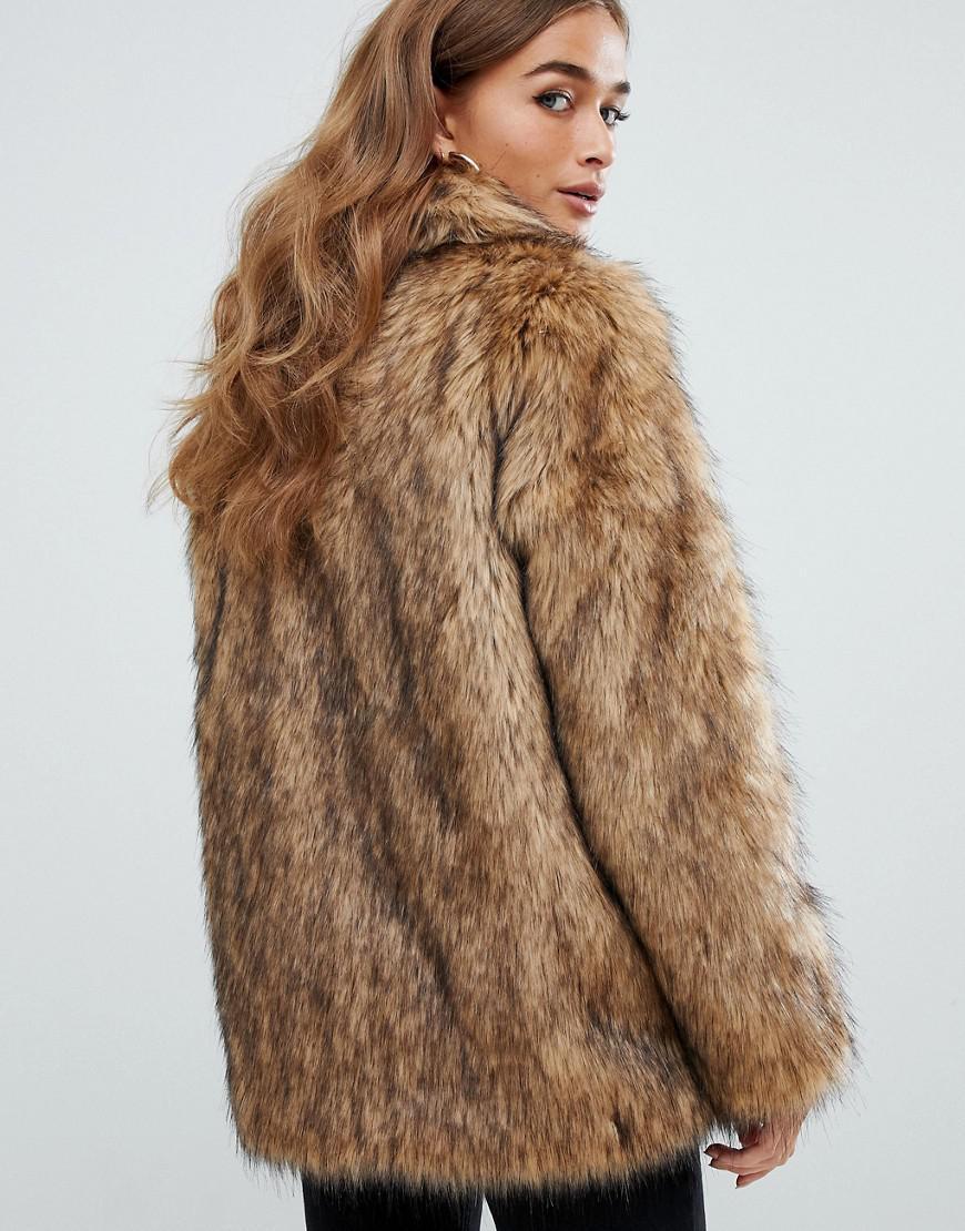 bcf786e3db2be Lyst - ASOS Asos Design Petite Stand Collar Faux Fur Coat in Brown