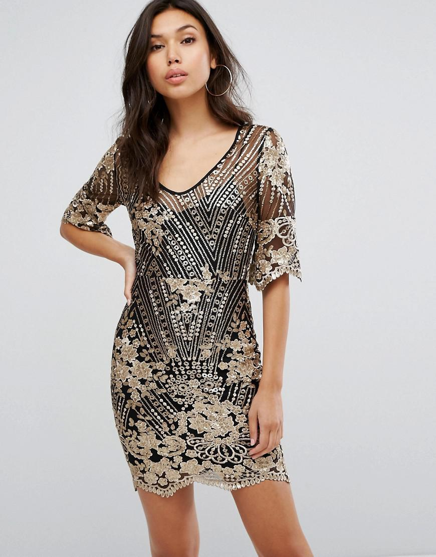 Tfnc dress in scalloped sequin lace