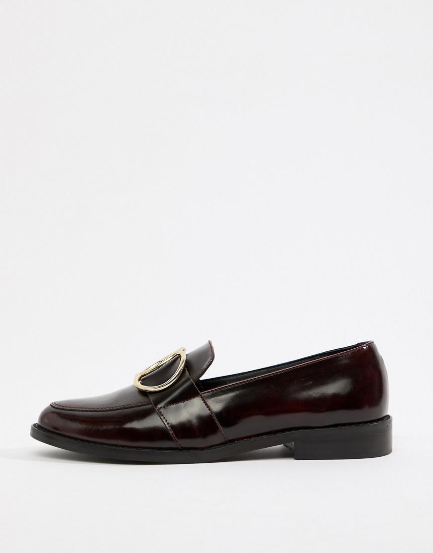 156bd484345c Lyst - ASOS Melbourne Leather Ring Loafer Flat Shoes in Red