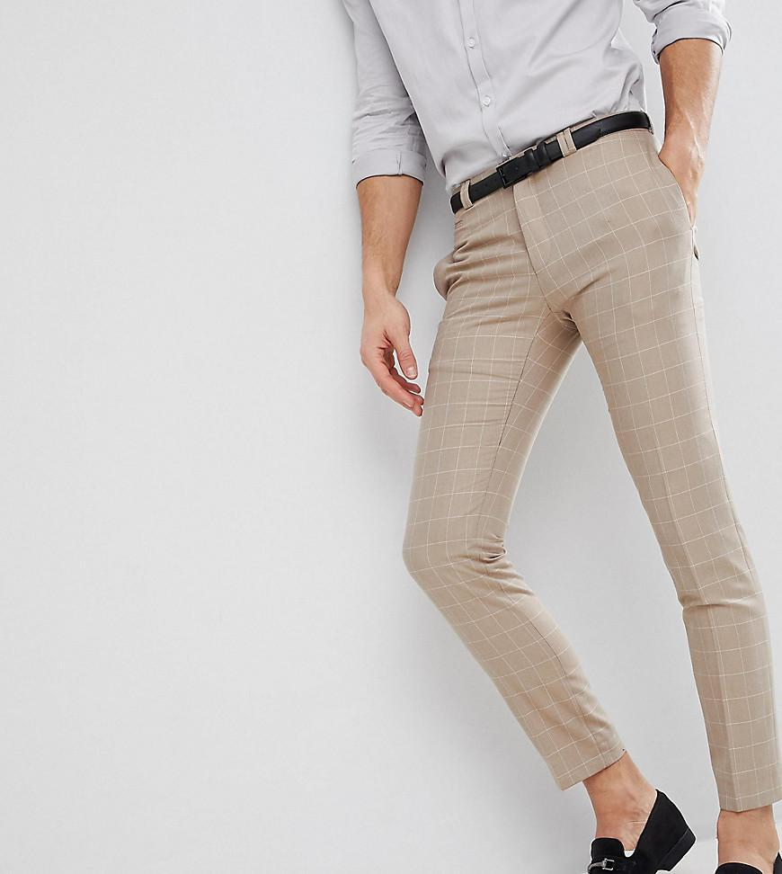 b68ee37a15c664 Noak Skinny Wedding Suit Pants In Windowpane Check in Natural for ...