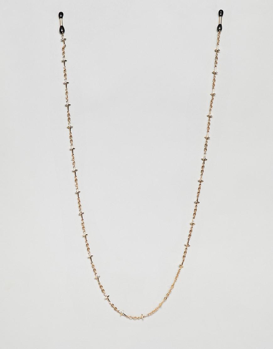 10185bcb34 Asos Design Cross Sunglasses Chain In Gold Tone in Metallic for Men ...