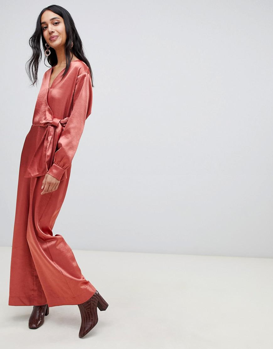 db3318fb3e6 Lost Ink Wrap Front Plunge Jumpsuit In Satin in Brown - Lyst