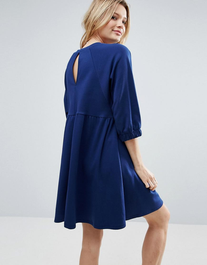 f9d7e14a0a Lyst - ASOS Cotton Smock Dress With Elastic Cuff Detail in Blue