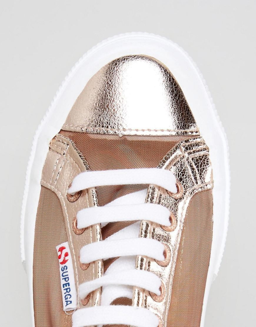 864fbf9265f8 Superga 2750 Mesh Metallic Trainers In Rose Gold in Pink - Lyst
