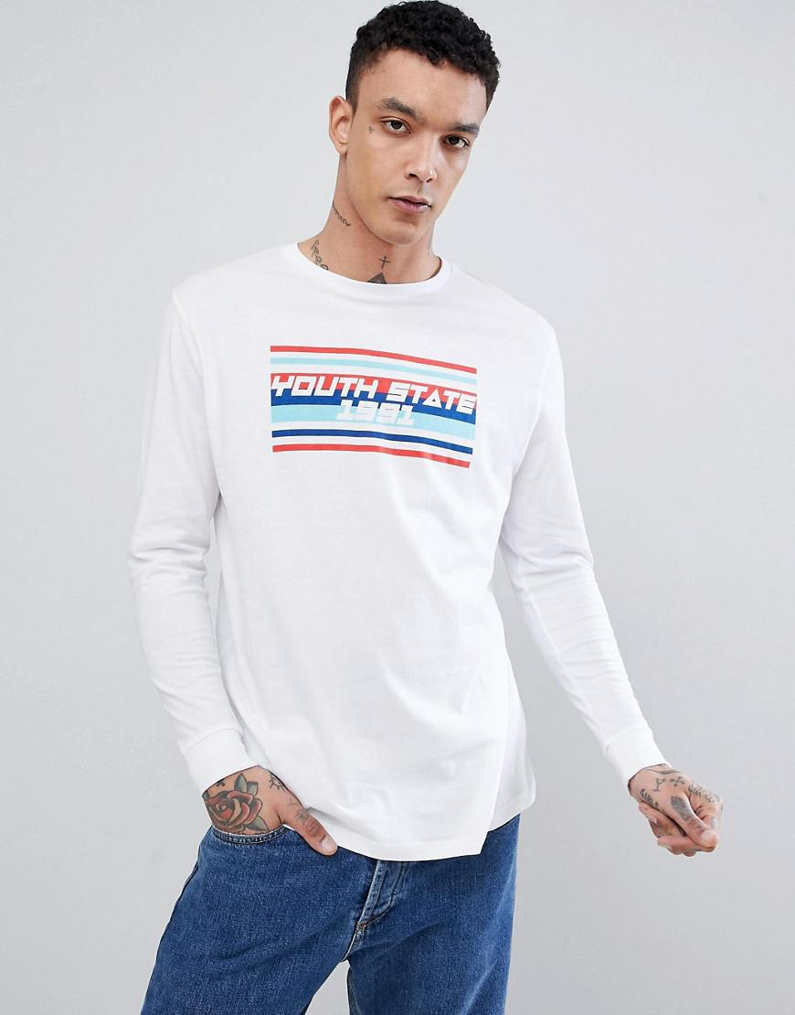 Drop Shipping DESIGN Plus longline long sleeve t-shirt with youth state print - White Asos Discount Latest kDst0YwQNw