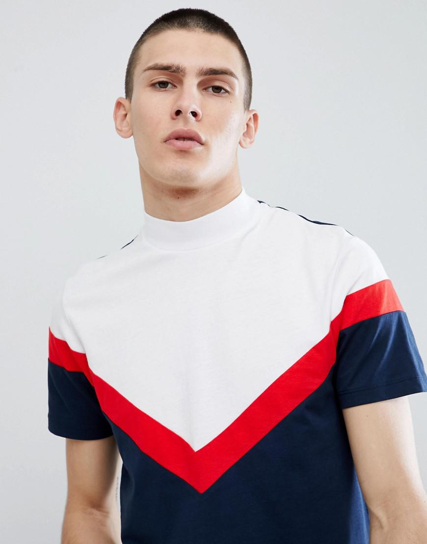 Sale Discount Clearance 2018 New DESIGN longline t-shirt with turtle neck and chevron cut and sew in navy - Navy Asos Outlet Prices Cheap Authentic Outlet Nicekicks Online Oq33FvA7