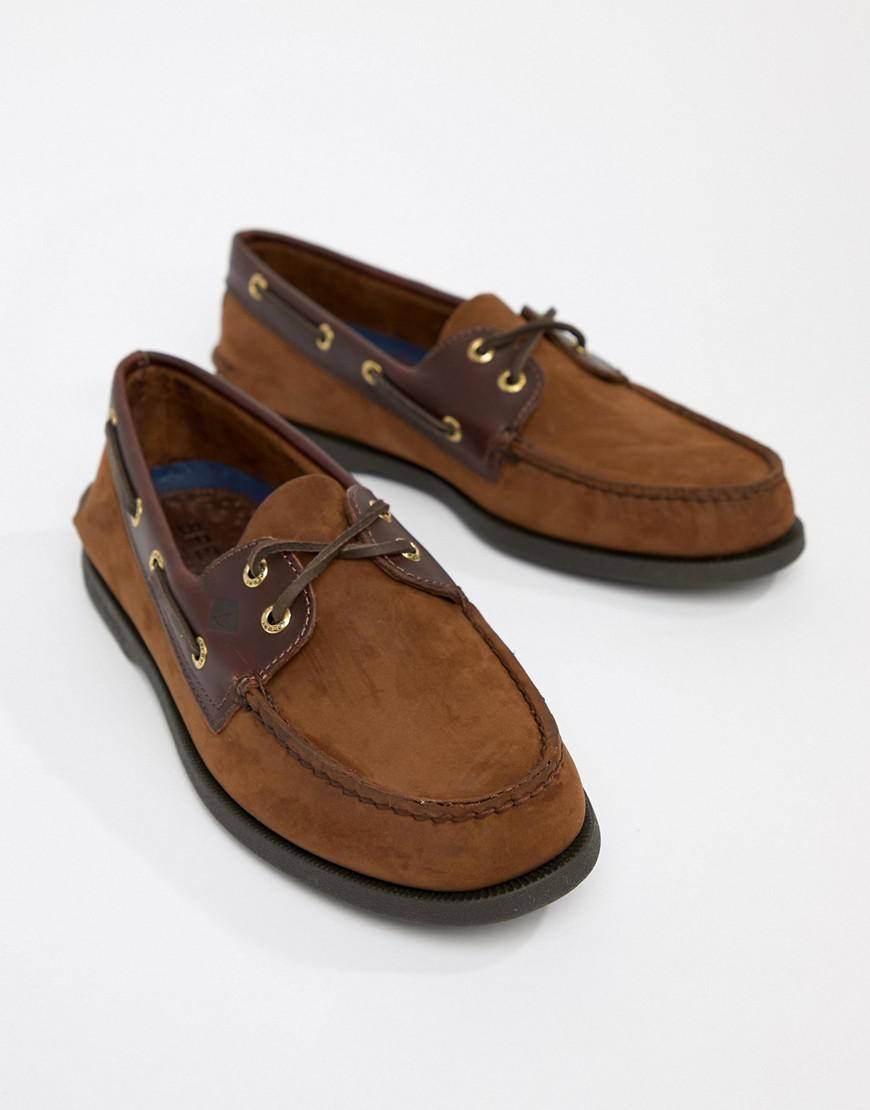 5caecf37166 Lyst - Sperry Top-Sider Topsider Leather Boat Shoes In Brown in ...