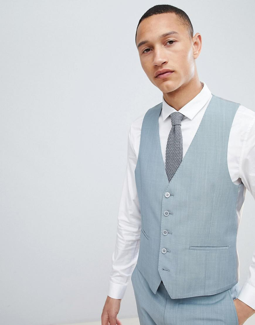 Lyst - Moss Bros Moss London Skinny Wedding Waistcoat in Green for Men