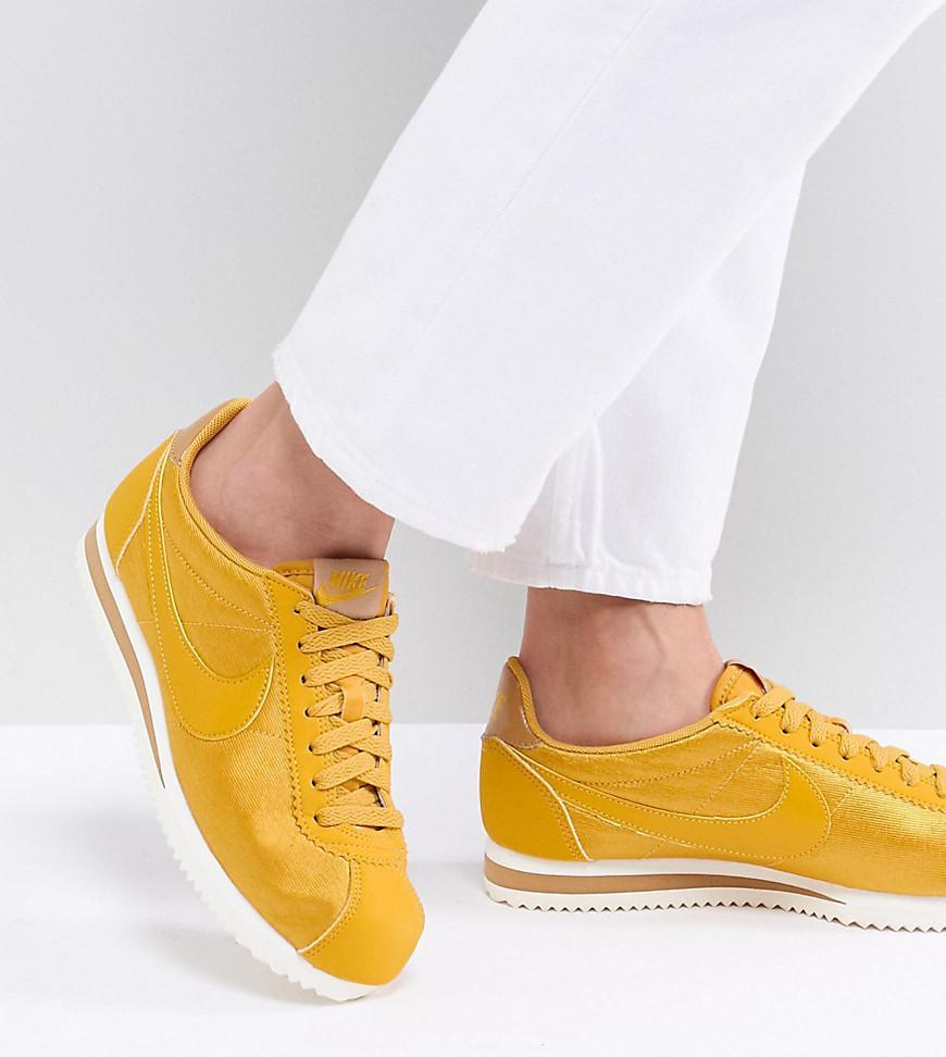 new arrival 5d18a 2f0f6 Nike Cortez Satin Nylon Trainers In Mustard Yellow in Yellow - Lyst nike  classic cortez nylon