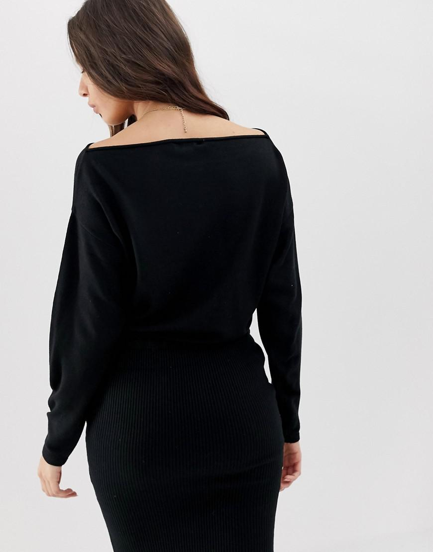 cbad505f142 Lyst - ASOS Knit Dress With Pencil Skirt And Slouchy Top in Black