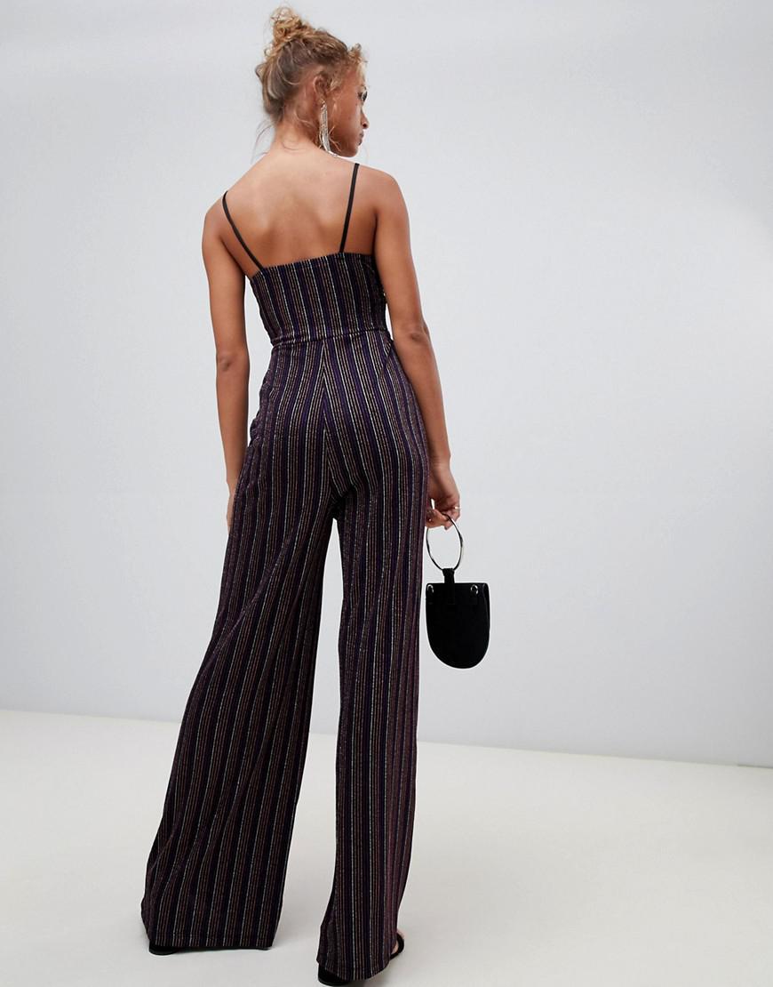 23d929fd24b3 New Look Twist Front Rib Jumpsuit In Glitter in Black - Lyst
