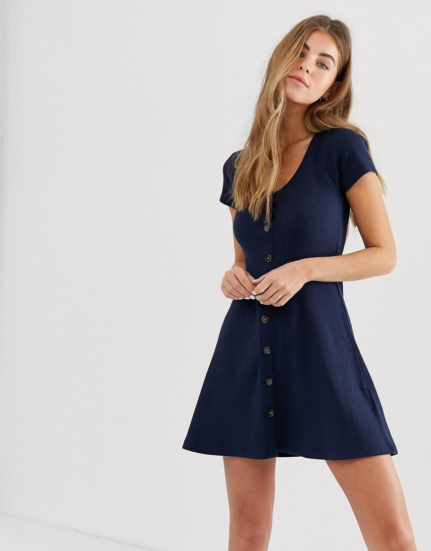 7d21b67db2 Hollister Ribbed Mini Dress in Blue - Lyst