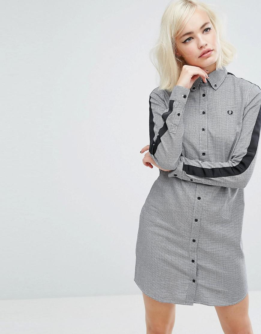 a40a77e945387 Lyst - Fred Perry Houndstooth Dress in Black