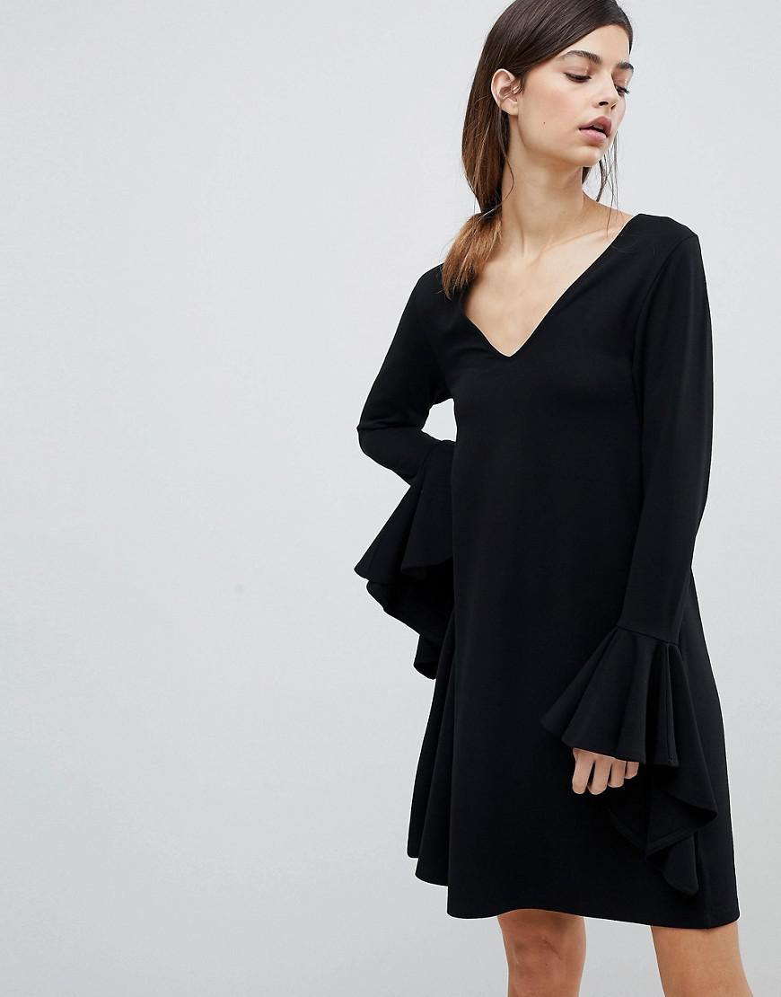 Footlocker Pictures Cheap Sale Release Dates DESIGN mini shift dress in ponte with long sleeves and frill cuffs - Black Asos m5TdMejAB