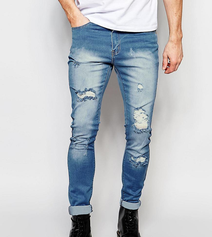 TALL Stonewash Open Knee Rip Skinny Jeans - Blue Liquor & Poker HbO4FiL